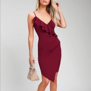Lulus Keep On Flourishing Burgundy Ruffled Dress